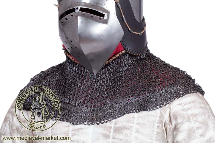 Functional Medieval Aventail Chainmail Neck Protector Flat Ring ...