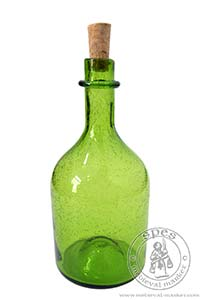 Antonius bottle - green. Medieval Market, The surface of a vessel is covered in tiny air bubbles