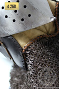 Klappenviser helmet with chain mail aventail - stock - Medieval Market, Klappenviser helmet with chain mail aventail