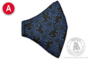 Patterned linen face mask - Medieval Market, Patterned linen face mask - color A