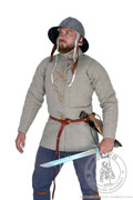Simple medieval gambeson of Saint-Denis - Medieval Market, has a high collar and is closed with 4 leather thongs