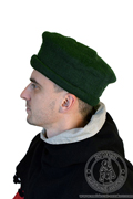 Tyrolean medieval felt hat - Medieval Market, Side of green felted hat